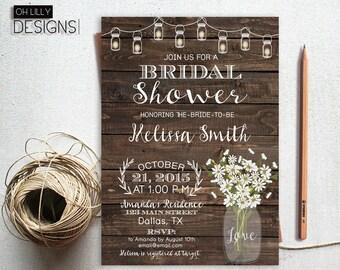 Printable Bridal Shower Invite, Fall Bridal Shower Invitation, Daisy Bridal Shower, Mason Jar Bridal Shower, Rustic Bridal Shower Invite