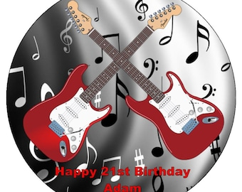 Guitar & Music Personalised Pre Cut Icing Cake Topper 7.5