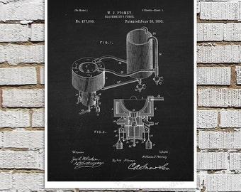 Blacksmith's Forge Patent Poster, Blacksmith Patent Print #4, Chalkboard patent Black Wall Art, Metalworking patent drawing art print