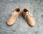 A CUP OF LATTE- Soft Chocolate Brown Handmade Leather Children Babies Toddlers Oxford Shoes