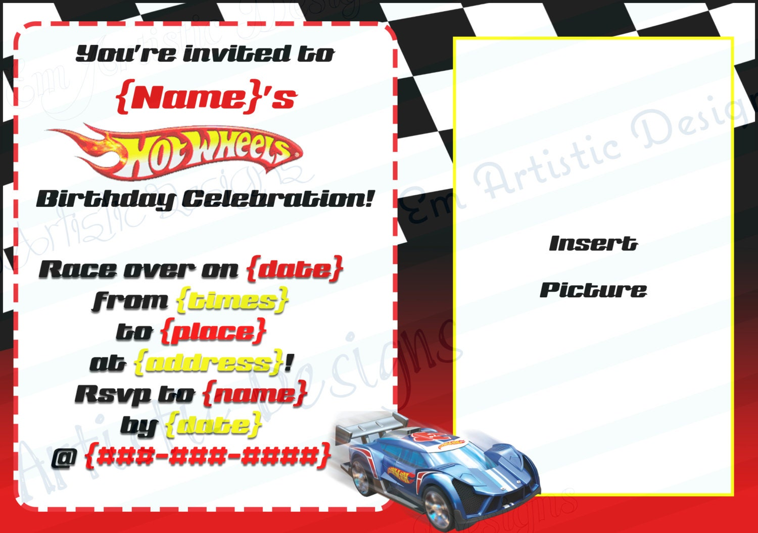 Hot wheels invite – Car Party Invitations