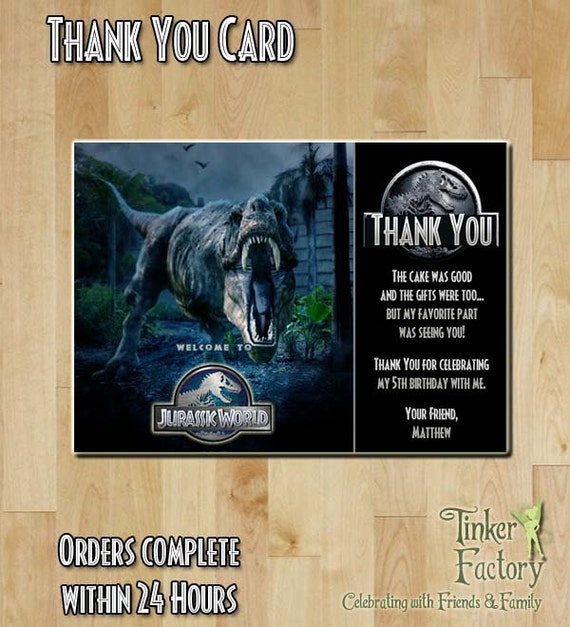 Jurassic World Birthday Party Thank You Card by TinkerFactory