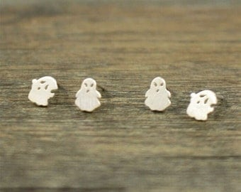 925 sterling silver, silver stud earrings, ghost earrings, gifts for her,birthday gift