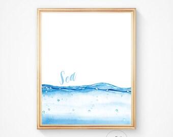 Beach house decor, Sea art print, ocean, Ocean water print, Nautical decor, Ocean art, Sea decor, Water print, Beach decor, Ocean decor