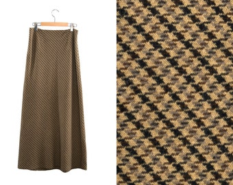 Vintage long skirt. High waist skirt. Beige / Black / Brown / Gray.