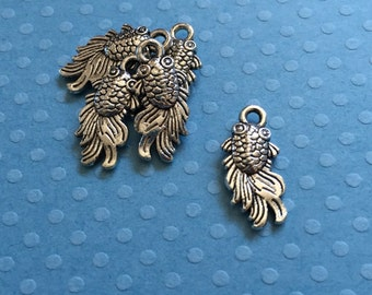 5 Silver Tone Fish Charms