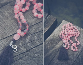 Heart Chakra Mala // ROSE Quartz MALA long necklace // OM pendant / silk tassel / rose quartz / om mala / om charm