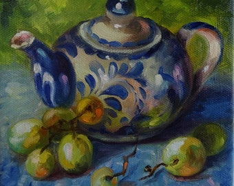 """Little Teapot and Grapes 6x6 Original Oil Painting on stretched, finished 3/4"""" profile ready to hang or frame."""