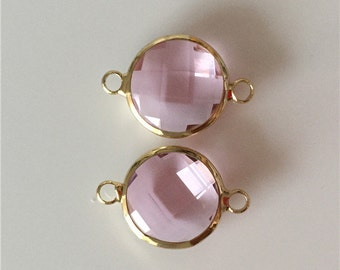 2 pc Clear Pink Round Facted Glass Bezel Gemstone Connector - Polished Gold Plated over Brass - 14mm