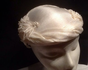 White Satin and Feather Hat 1950-1960