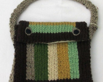 Hand knitted brown and green Purse.