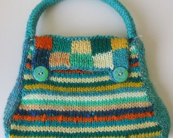 Hand knitted Green and stripey Purse.