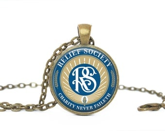 Relief Society, Gift for Her, LDS, Relief Society Logo.  Necklace, Keychain or Zipper pull.