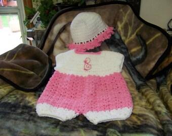 Pink Jumpsuit / Sun Bonnet 3 to 6 Months