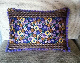Purple Floral Cushion
