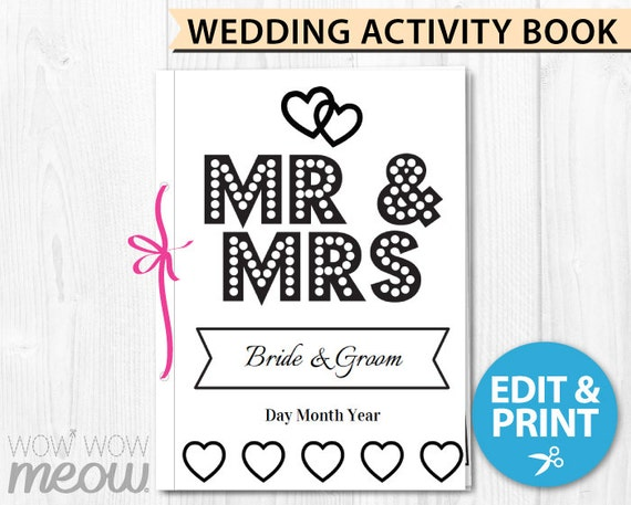 Wedding Coloring Book Childrens Activity Sheets Booklet Printable Personalize Kids Pages Maze
