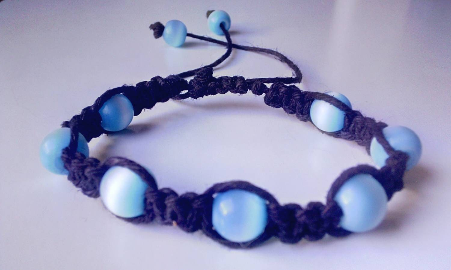 blue beaded black hemp bracelet handmade by wartickravels