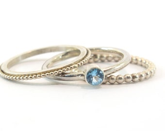 Ring Topaz, ringset, stackable rings of silver