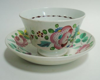 c1850 Wood & Sons Handleless Cup Saucer. Clover Shamrock Roses. Staffordshire