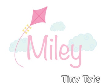 Wall Decal-Nursery Wall Decals- Kite Decal, Cloud Decal, Name Decal-Childrens Wall Decals, wall stickers, Vinyl Wall Decal