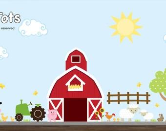 Farm Wall Decal set-Nursery Wall Decals-Farm Wall Stickers-Girl Farm Decal-Boy Farm Decal-te01