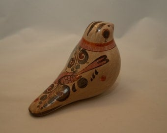 Mid Century Hand Painted and Signed Mexican Tonala Bird Mexico