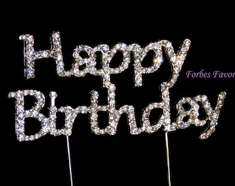 Rhinestone Silver Happy Birthday Cake Topper