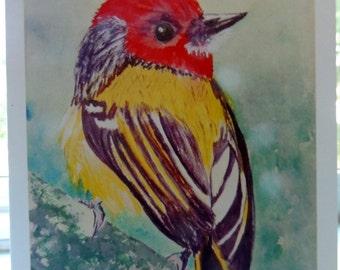 """SALE Watercolor Card """"Sweet Little Birdie"""" 5X7"""