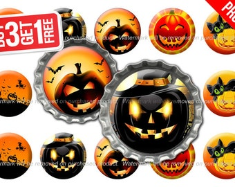 Halloween Bottle Cap Images - 1 inch size - Suitable for Hair Bows, Magnets, Scrapbooking, Stickers etc - High Resolution Images