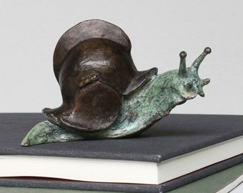 Sir Enity - brass snail sculpture, surreal sculpture, fantasy snail figurine