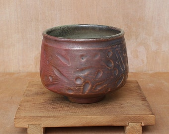 Sturdy anagama wood fired tea bowl for oolong or pu erh tea
