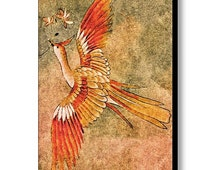 """The Peahen's Gift, Japanese Peacock Stretched Canvas Print: Tan, Orange & Green Painted Kimono Wall Art by Susan Maxwell Schmidt, 17"""" x 24"""""""