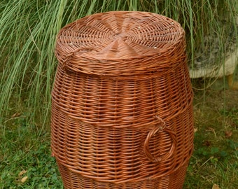 Wicker Laundry Basket, Wicker Hamper Basket, Handmade Willow Laundry Basket with Lid, Handwoven Wicker Hamper with Lid,Wicker Laundry Hamper