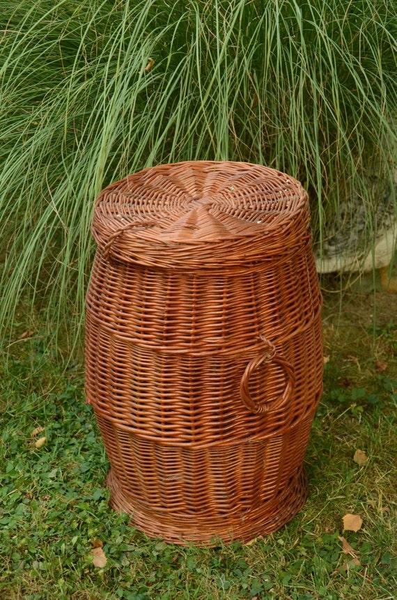 Wicker Basket With Sections : Wicker laundry basket hamper handmade willow