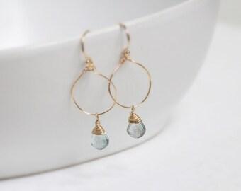 Riverside / earrings acute marine and gold 14 k