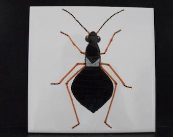 Ceramic Tile Painting. Original. Black bug beetle creepie crawley insect plaque