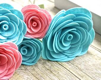 Beautiful Felt Flower Bouquet - 5 Felt Flower Bouquet