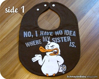 Funny Brother Baby Bib, Recycled T-shirt Reversible Baby Bib, Baby Boy Gift, Little Brother, Big Brother