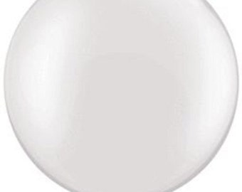 """Round White Latex Balloon 30"""" White Pearl Finish Giant Wedding Party Decoration Big Outdoor/Indoor Made in USA Pearlized"""