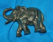 ELEPHANT w/Rainsed Trunk Small SOLID Brass Vintage