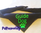 Guide DOG Bandana with Paw Print, Choice of Colours and Sizes  Hi Vis Text