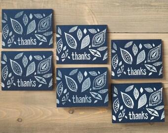 Thank you notes, Block print notecards, Folk art cards, Thank yous, Boho thank you cards, Navy blue notecards, Set of 6