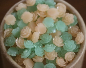 20pcs 10MM Resin Rose Flower Flat Back Ice Milky Colors Cream Orangepink Green Resin Cabochon Craft (No Hole)