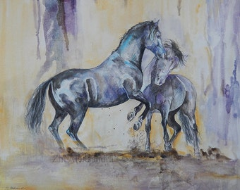 Two horses- original watercolor painting