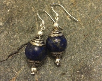 Jewelry for Bema Silver and Lapis Stone Dangle Earrings
