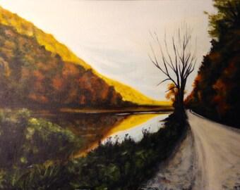 Original acrylic landscape painting, mountain painting, autumn painting, fall art, fall painting, autumn art, original painting