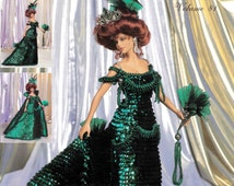 Crochet Doll's Dress ... Collectable Dolls Dress ... 11.1/2 inch Doll ... PDF Crochet Pattern ... Period Dress ... 1900 London Opera Gown