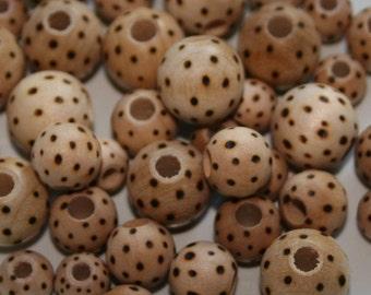 Wood Burned Polka Dot Beads 8mm, 10mm, 12mm