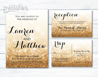 Gold Wedding Invitation Set, Wedding Invites Gold, Digital Wedding Invitation Template, Sparkle Wedding Invite, RSVP Postcard Reception Card