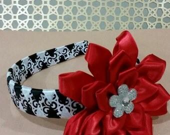 Black and White headband, Red headband, Girl's headband, Damask headband, Woven headband, Flower Girls hair Accessory, wedding headband,